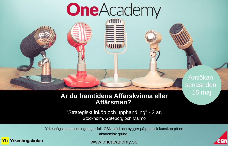 Annons för One Academy yrkeshögskola